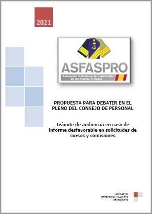 114.2021 Propuesta ASFASPRO TRÁMITE AUDIENCIA EN CURSOS Y CS INFORME DESFAVORABLE