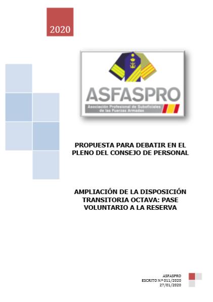 Ampliación de la disposición transitoria octava pase voluntario a la reserva