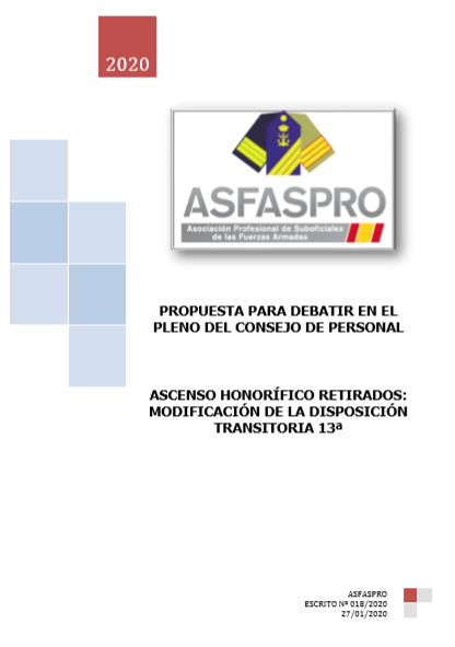 Ascenso honorífico retirados modificación de la disposición transitoria 13ª