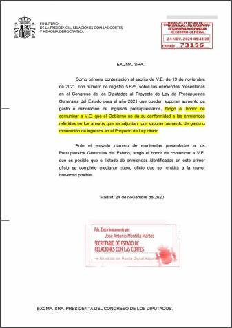 Contestación Gobierno enmiendas presentadas 261120