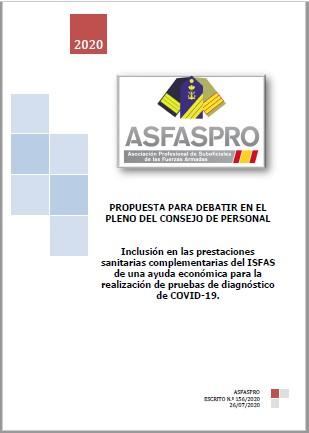 Inclusión en las prestaciones sanitarias complementarias del ISFAS de una ayuda económica para la realización de pruebas de diagnóstico de COVID 19