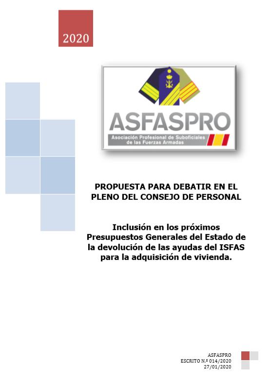 Inclusión en los próximos Presupuestos Generales del Estado de la devolución de las ayudas del ISFAS para la adquisición de vivienda