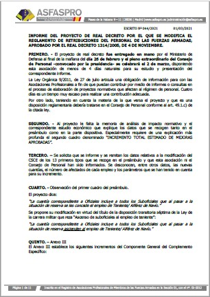 Informe ASFASPRO Consejo de Personal Reglamento Retribuciones