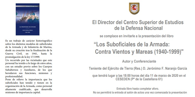 Invitación CESEDEN Libro Jerónimo Naranjo