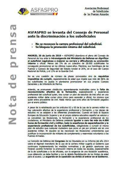 Nota de prensa ASFASPRO abandona Pleno COPERFAS