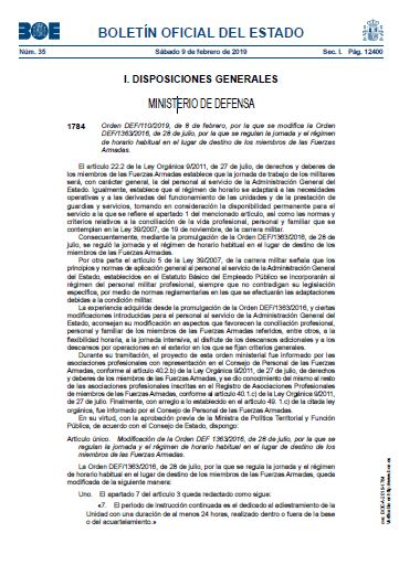 Orden DEF 110 2019