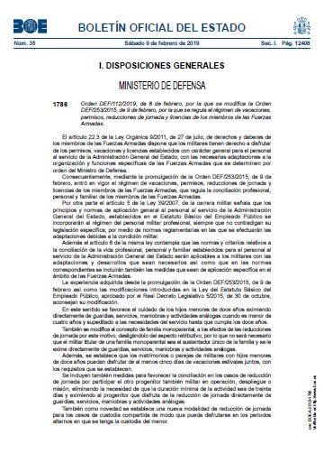 Orden DEF 112 2019