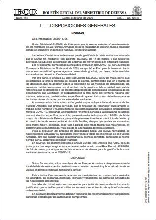 Orden Ministerial 212020 de 8 de junio
