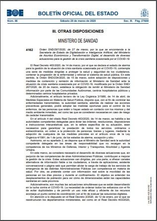 Orden SND2972020 de 27 de marzo