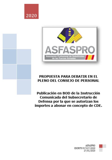 Publicación en BOD de la Instrucción Comunicada del Subsecretario de Defensa por la que se autorizan los importes a abonar en concepto de CDE