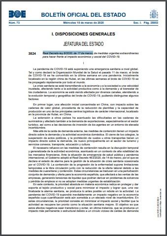 Real Decreto ley 82020 de 17 de marzo