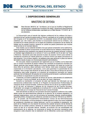 Real Decreto 382019 1 febrero