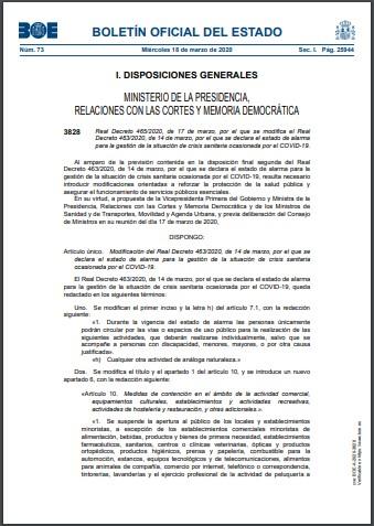 Real Decreto 465 2020 de 17 de marzo