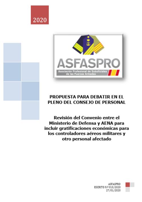 Revisión del Convenio entre el Ministerio de Defensa y AENA para incluir gratificaciones económicas para los controladores aéreos militares y otro personal afectado