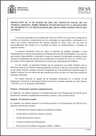 resolucion isfas 13 marzo covid