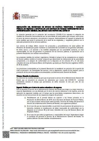 resolucion medidas centros trabajo AGE