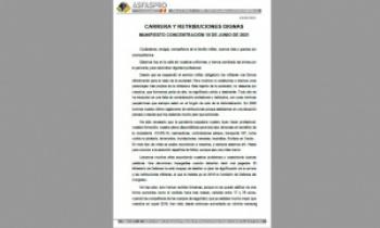 CARRERA Y RETRIBUCIONES DIGNAS. MANIFIESTO CONCENTRACIÓN 19 DE JUNIO DE 2021